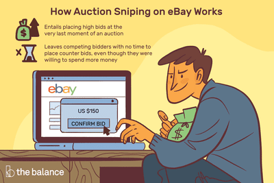 Image shows a sinister looking man with a bag of money on his lap, and his computer open to ebay where he's putting in a bid of $150. Text reads: