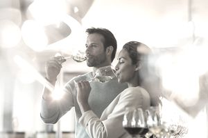 couple tasting wine