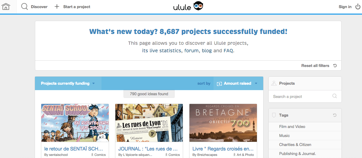 Ulule's top crowdfunding projects