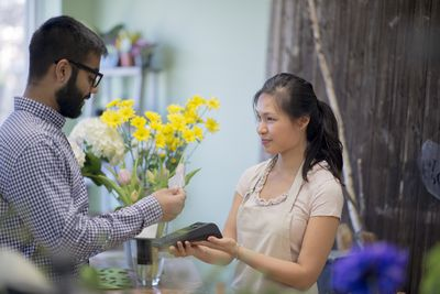 Paying for a Bouquet of Flowers