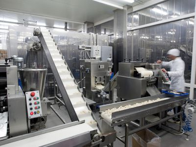 Automated production line in modern food factory.