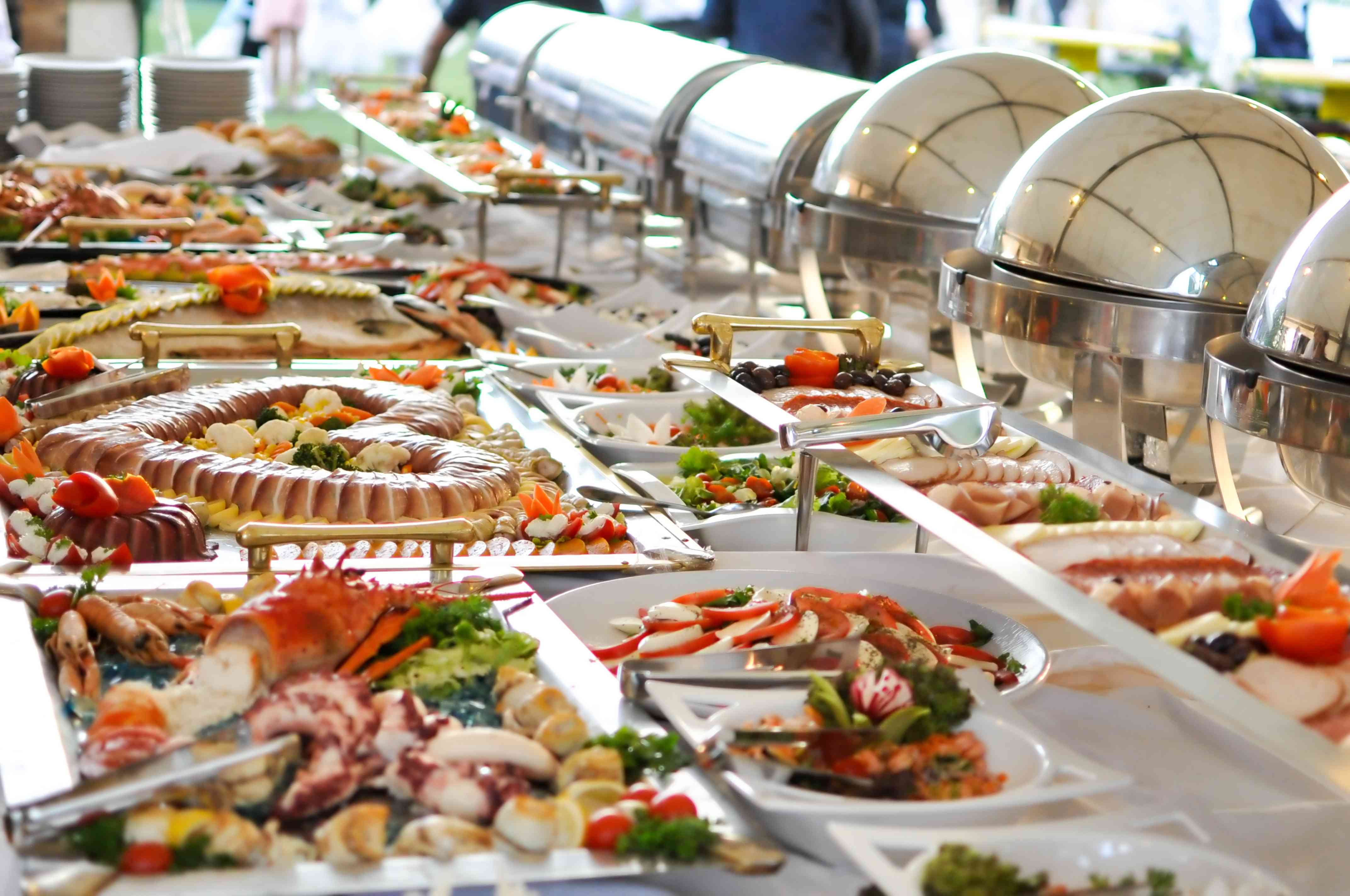 Catered food buffet line