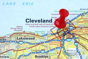 Map of Ohio with a red pin on Cleveland