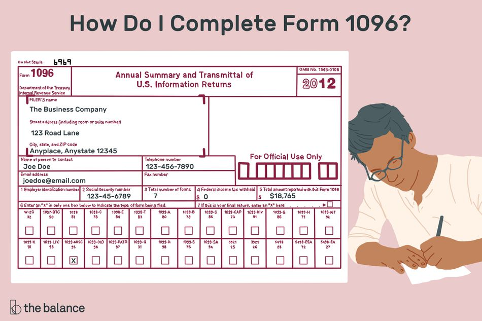 man filling out form 1096, with a pink background.