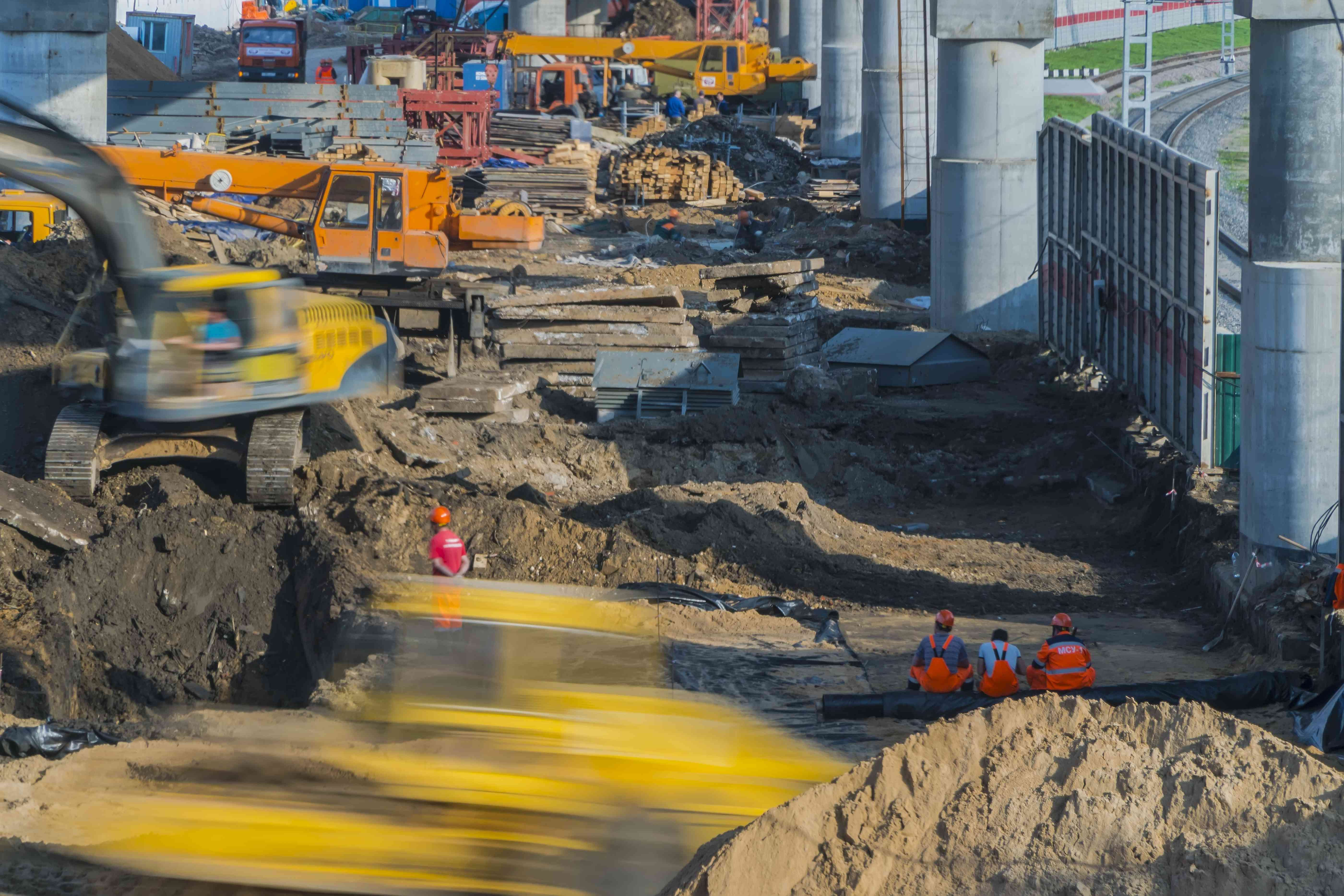 intensive work on the construction of a high-speed overpass,