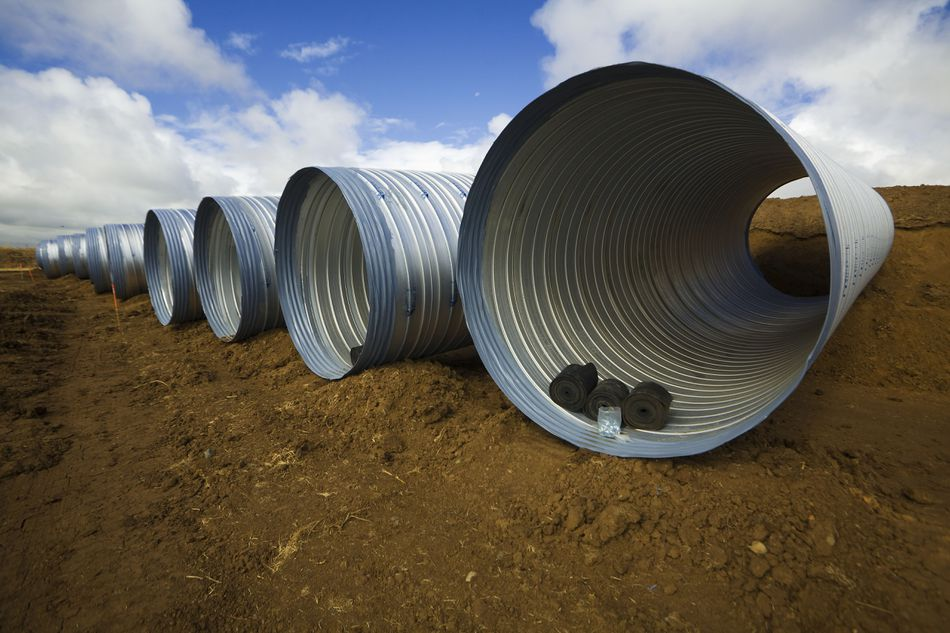 Culvert pipes used in road construction.