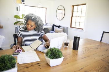 Businesswoman calculating her net operating loss at home