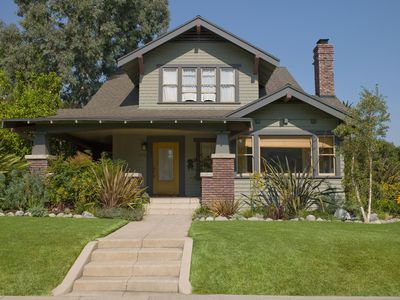 Stairs leading to craftsman house offered for rent