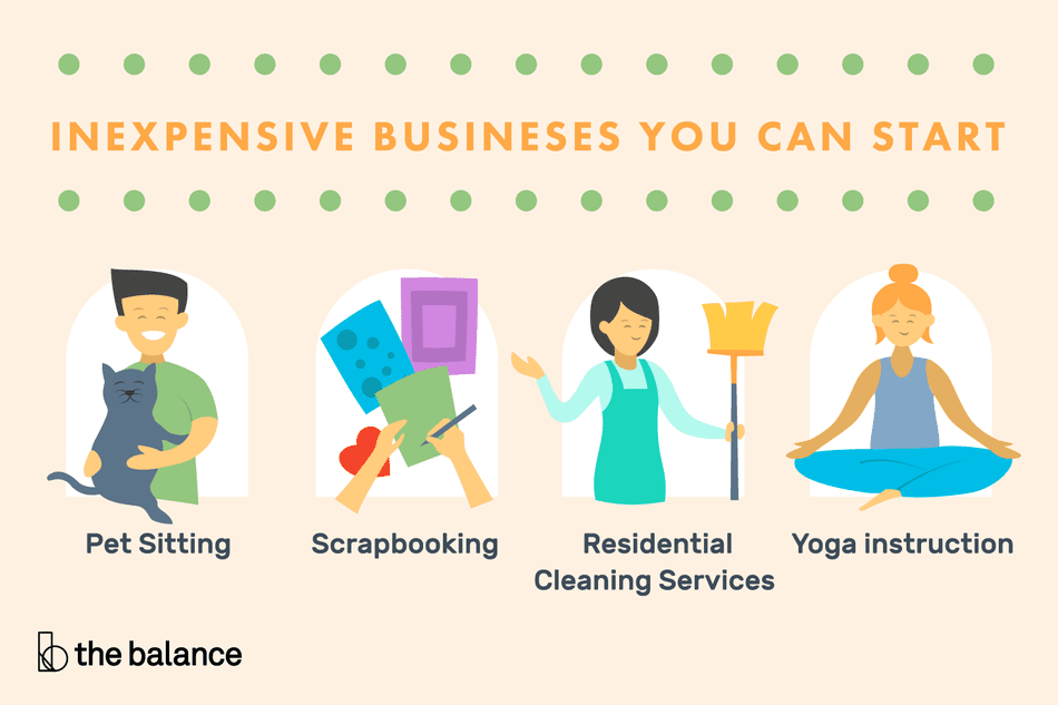 Illustration of a few inexpensive businesses you can start