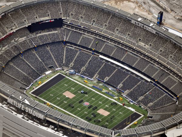 Open air MetLife Stadium, East Rutherford, New Jersey, venue for 2014 Super Bowl XLVIII