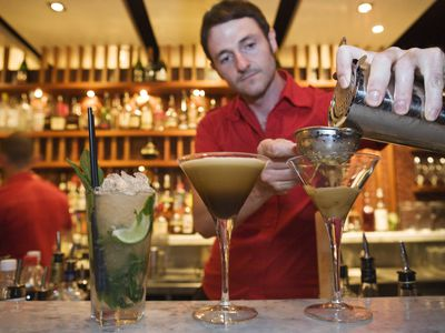 Bartender making an espresso martini at Luxe Bar