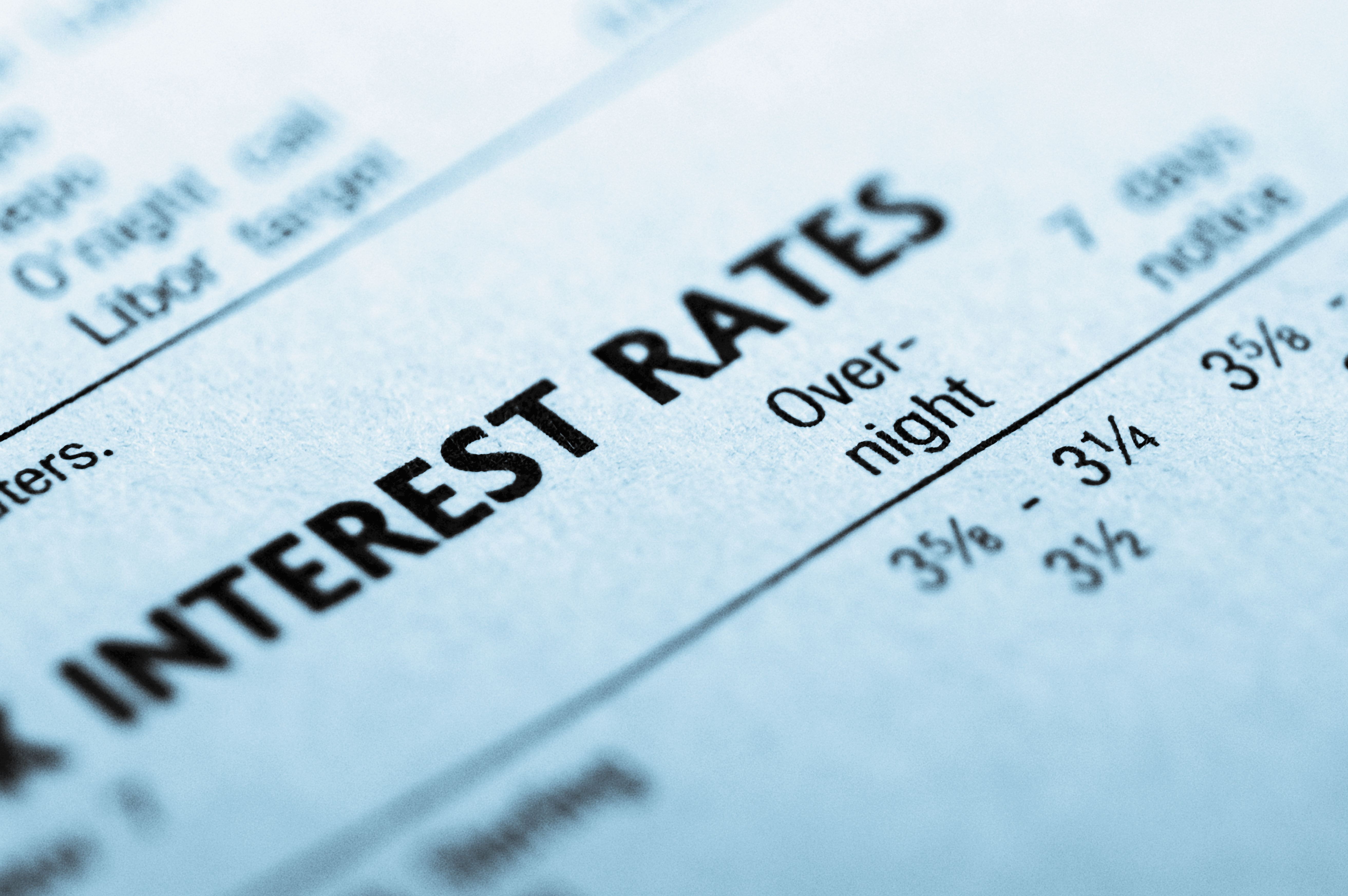Close-up of paper showing the interest rate for a small business loan.
