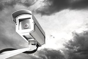 Security Camera with cloudy sky