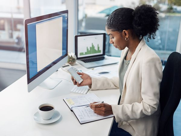 Businesswoman doing the financial work, crunching numbers