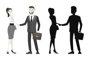 Business people handshake with silhouette male and female, isolated on white background,cartoon vector illustration