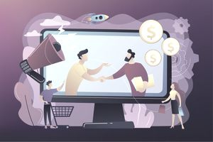 Two cartoon businessmen on a screen shaking hands and agreeing to work together and shoppers in the looking at the screen.
