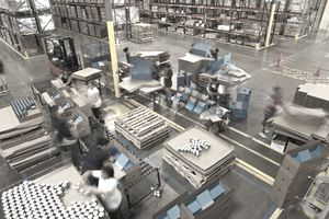 Busy workers in warehouse