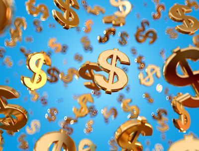 Golden dollar signs falling on the blue background.