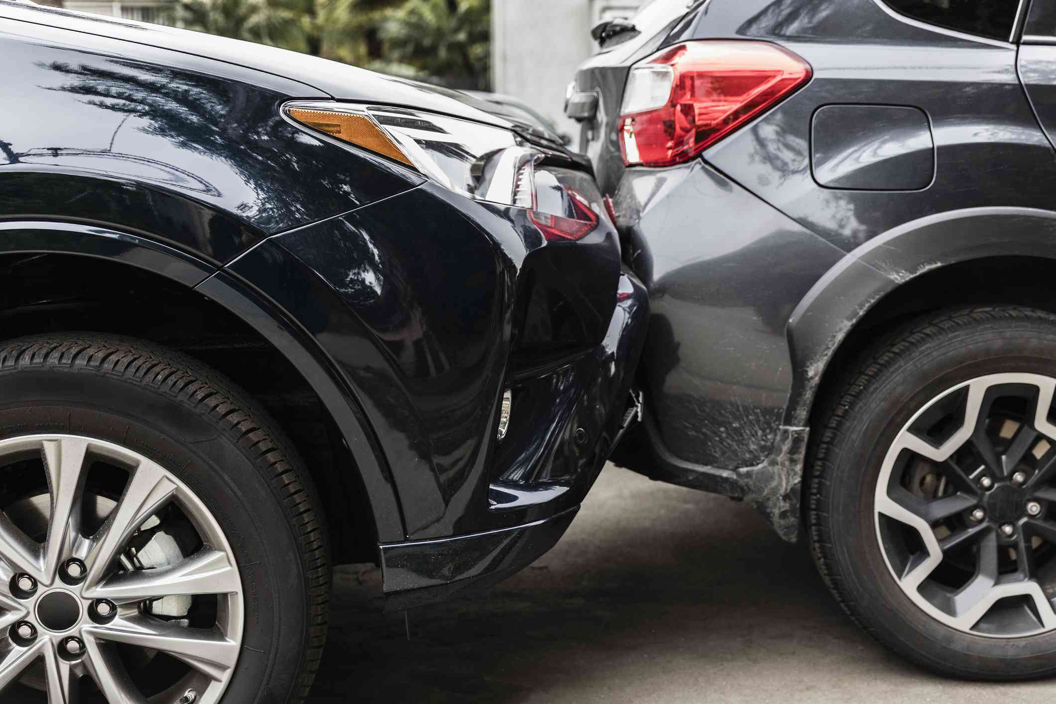 Damaged bumpers from car accident