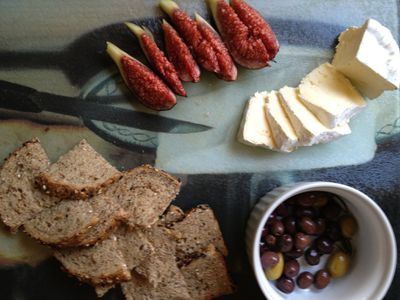 California cheese fruit and olive plate