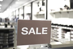 A sale sign in a retail store