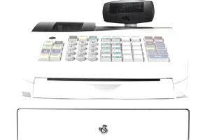 White Cash Register with Cash Drawer Closed