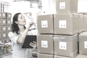 Woman performing inventory management