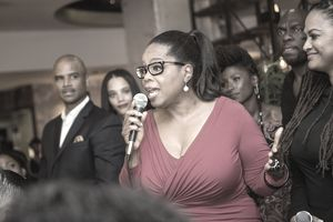 Oprah Winfrey speaking to a crowd