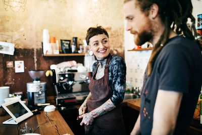 Cafe workers in a microbusiness