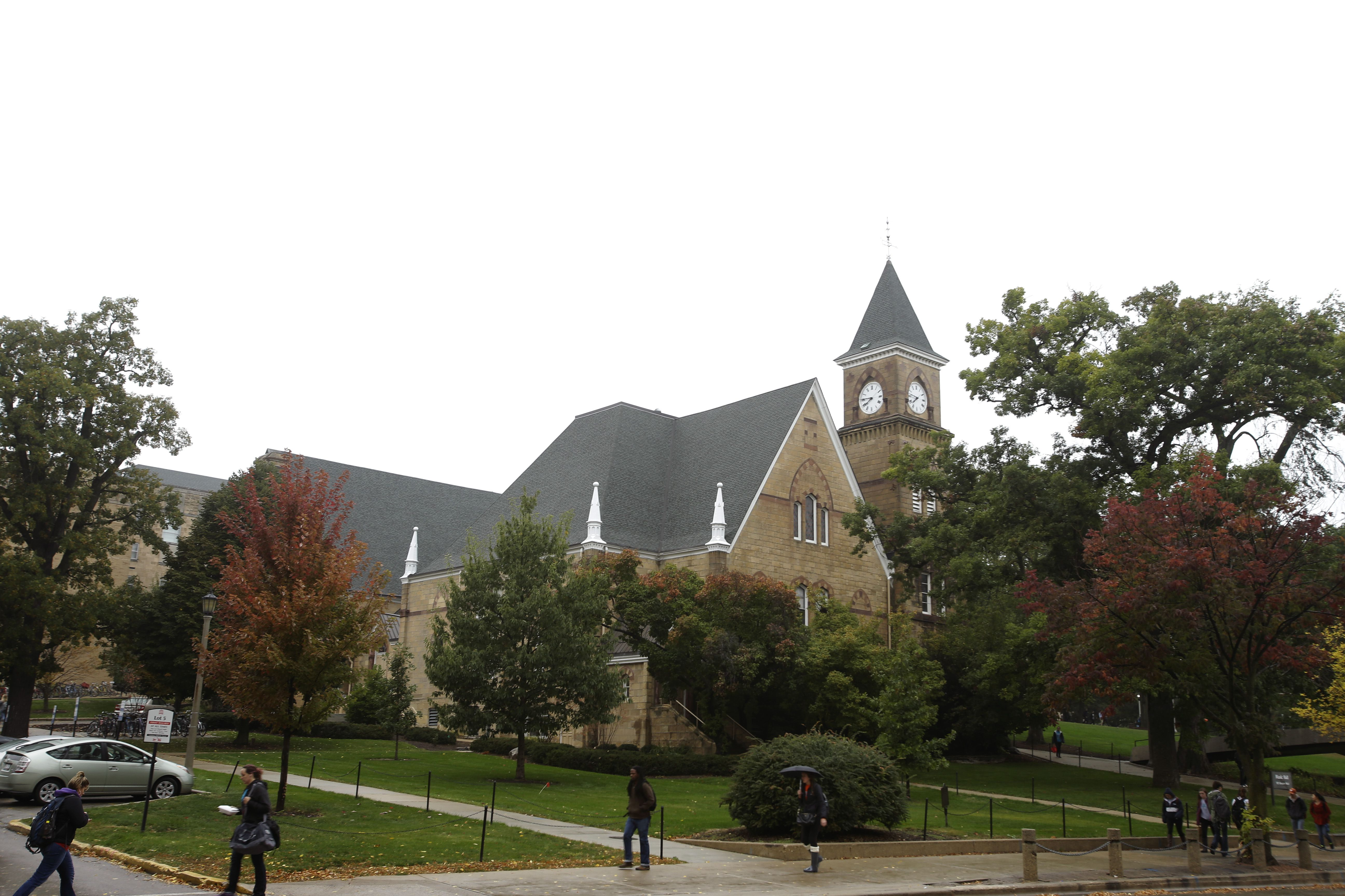 An outside view of Music Hall on the campus of the University of Wisconsin