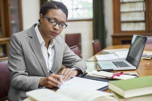 A lawyer at her desk