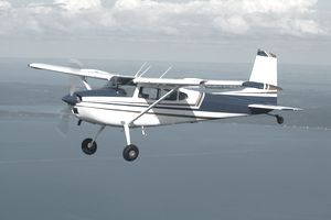 A small private aircraft in flight