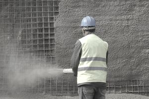 Construction worker with Shotcrete