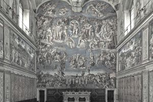 Interior view of Sistine Chapel in Vatican City