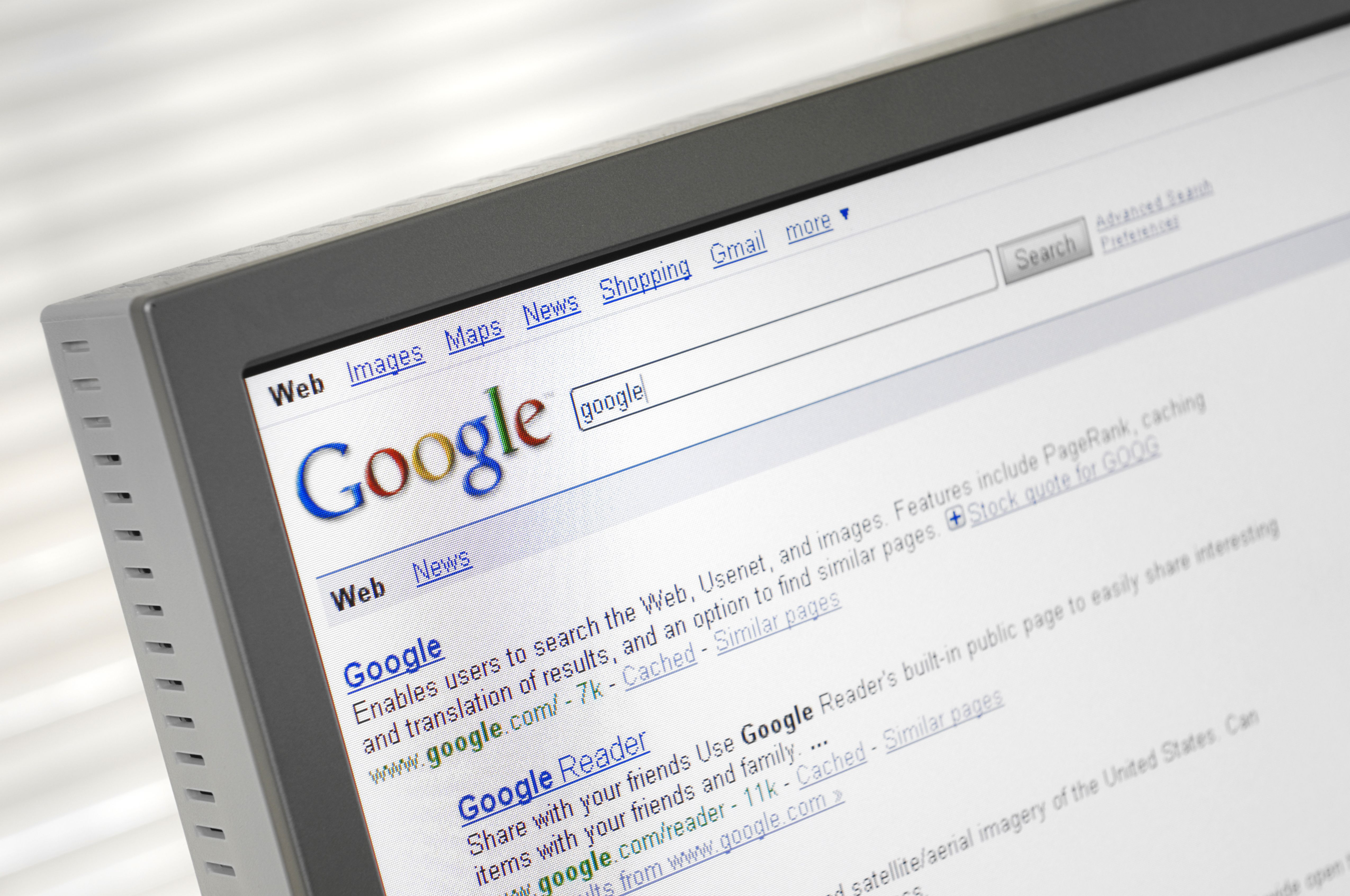 Computer monitor showing a Google search