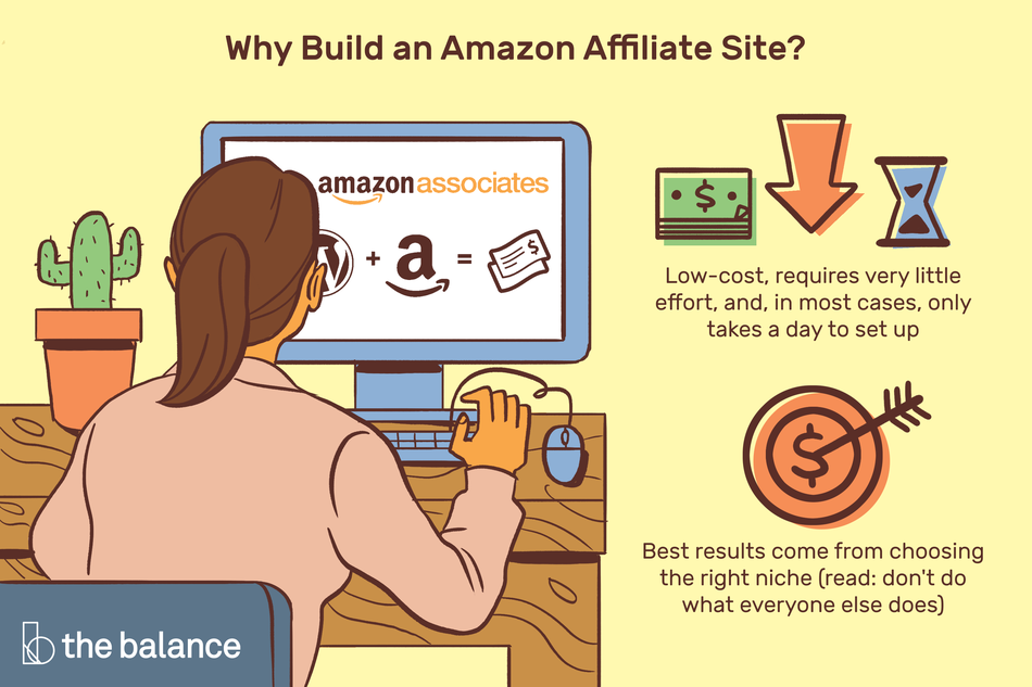 "Image shows a woman sitting at a desk with a cactus on it and she is working on her desktop, which shows an amazon associates webpage. Text reads: ""Why build an amazon affiliate site? Low-cost, requires very little effort, in most cases, only takes a day to set up. Best results come from choosing the right niche (Read: don't do what everyone else does"""