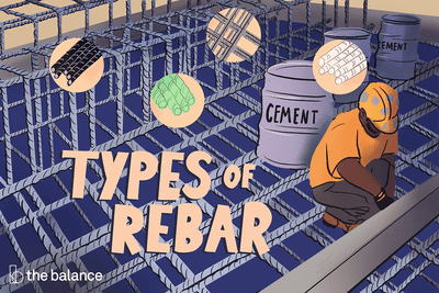 Image shows a man installing rebar, and there are vats of cement behind him. Title reads: