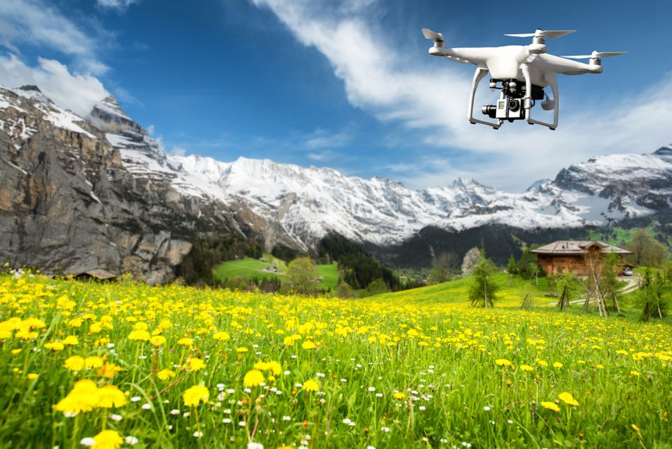 Drone with high resolution digital camera flying over flower field with snow mountain in background in Switzerland. Beautiful landscape