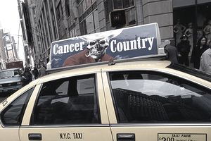 Ant-smoking counter ad on a NYC taxi