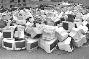 A huge pile of CRT monitors