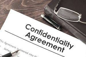 Confidentiality Agreement form on a table