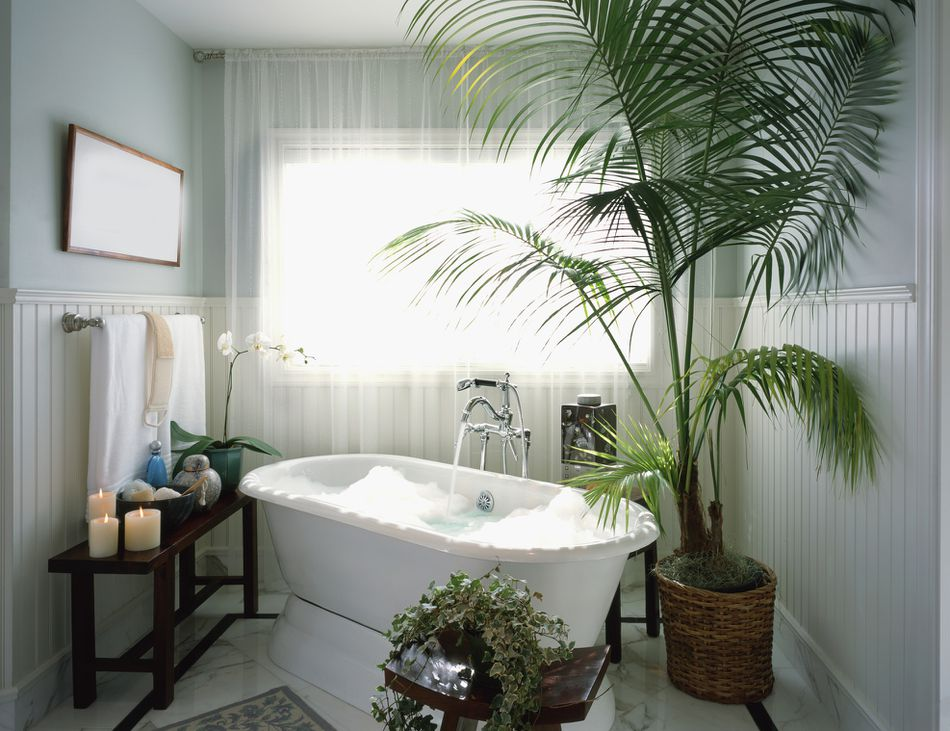 Large bathtub with a bubble bath in bathroom with candles and potted plants.