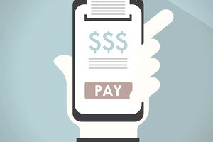 Illustration of a smartphone displaying dollar signs and printing a receipt.