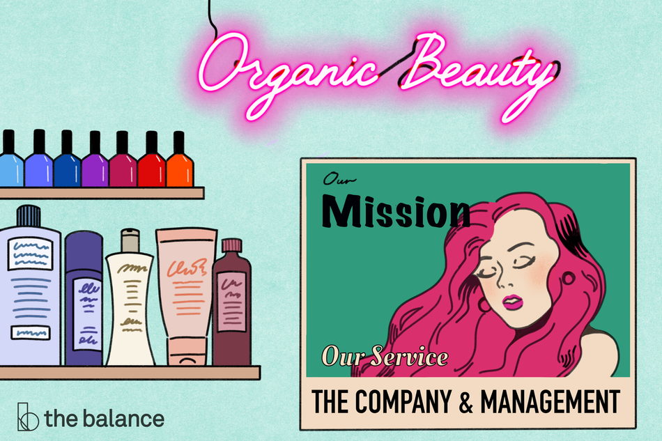 "Image shows a wall in a beauty salon. There are nail polishes and hair products on a shelf to the left. There is a neon sign that read ""Organic beauty"", and a posted of a girl with long, hot pink hair. On the poster, it reads: ""Our mission, our service, the company & management"""
