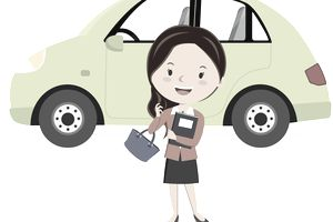 Businesswoman and her car