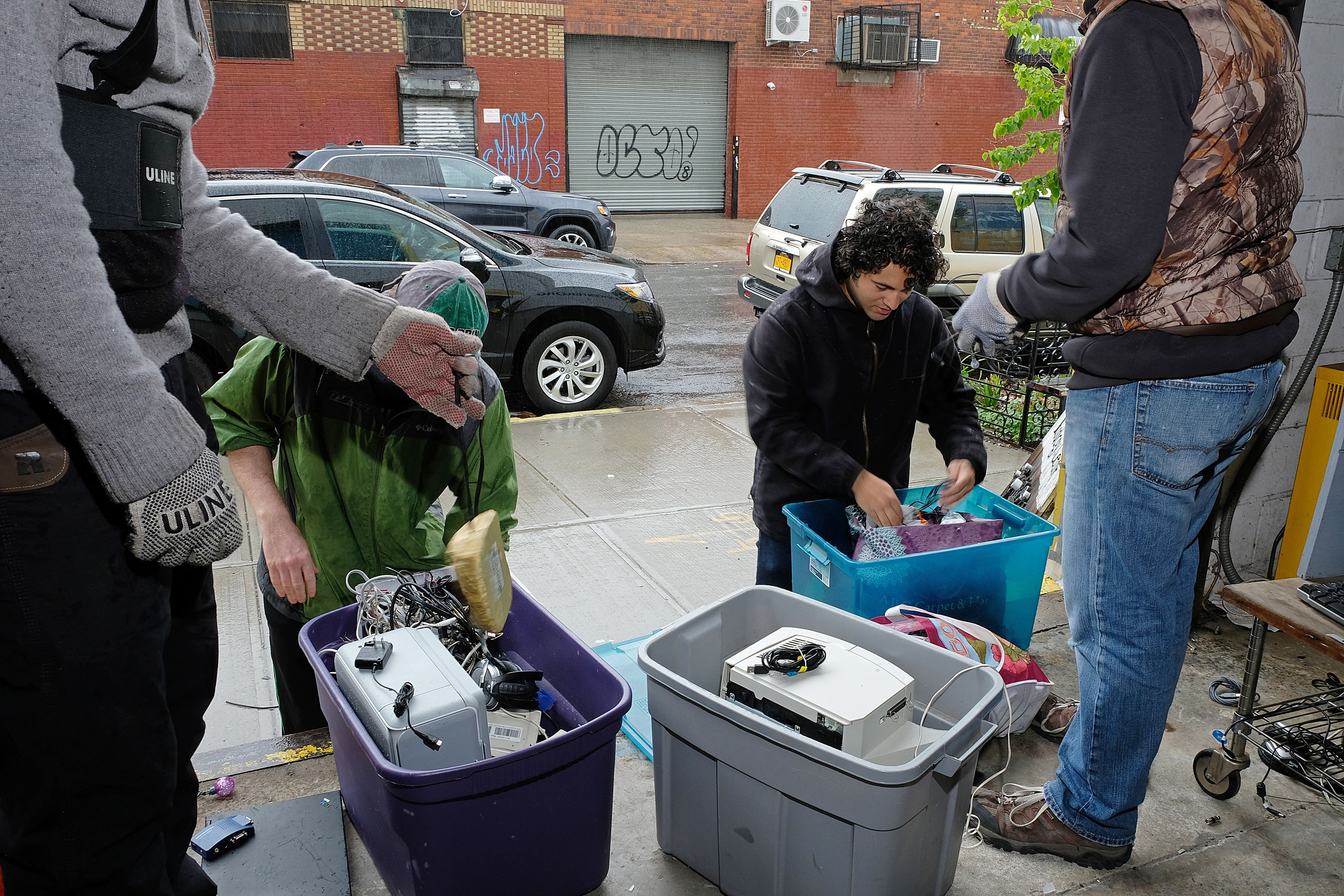 Drop off center for e-waste recycling, Gowanus E-Waste Warehouse, Brooklyn, New York, USA