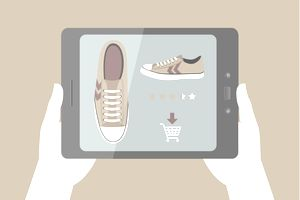 Illustration of a person using their digital tablet for making an online purchase.
