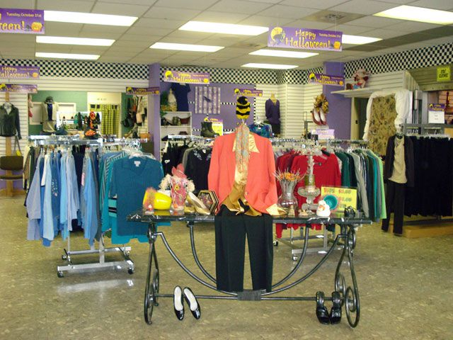 The Purple Ribbon Thrift Store, Hickory, NC - Fall Display in Entrance