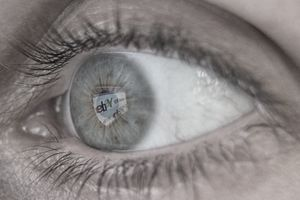 closeup of an eye reflecting an eBay web page