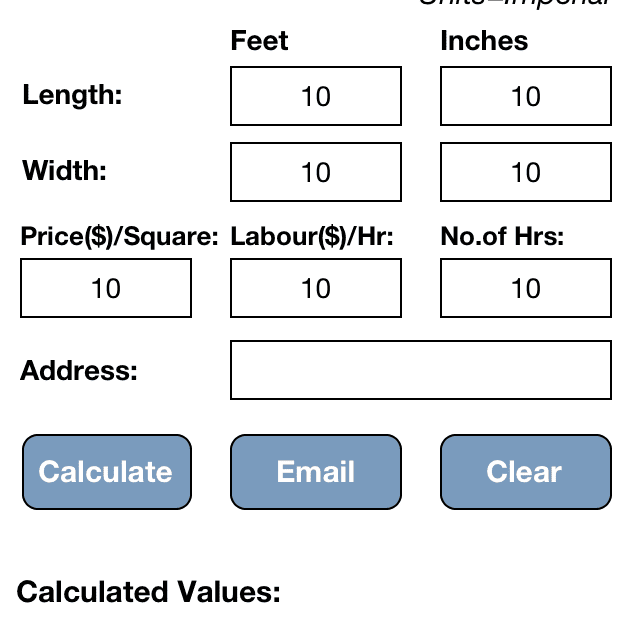 Roofing Calculator screenshot for iOS.